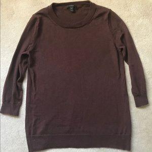 J.Crew Maroon Crewneck Merino Wool Sweater S